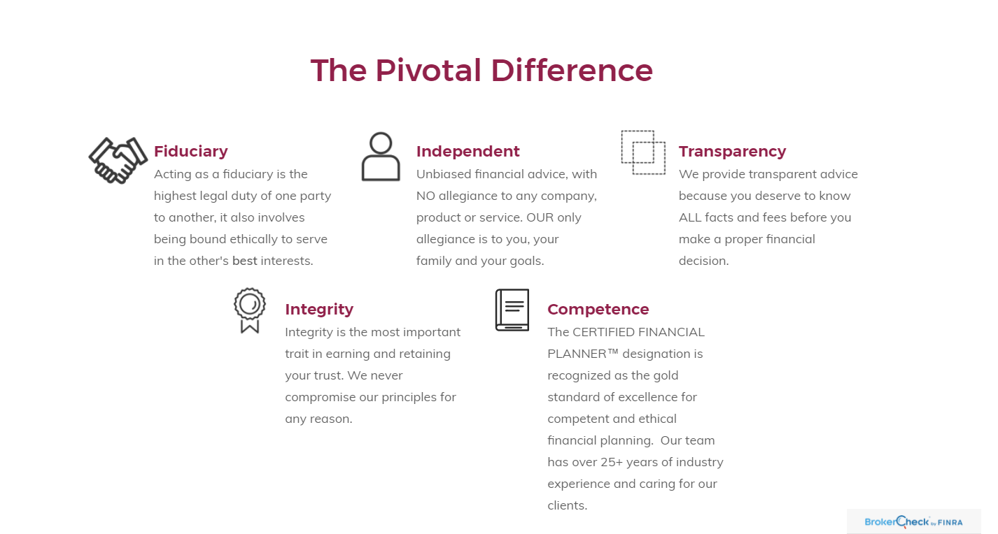 Pivotal Financial Service Advisor Website