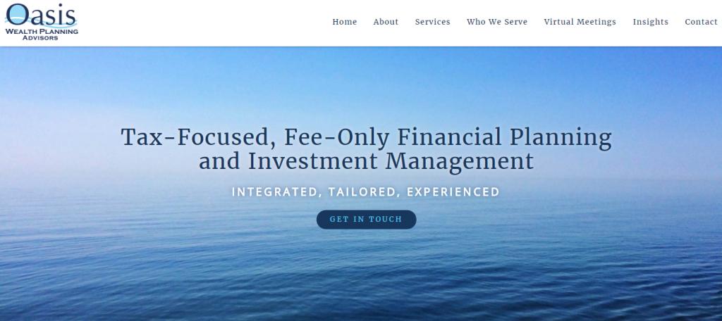 Oasis Wealth Planning advisor website showcase