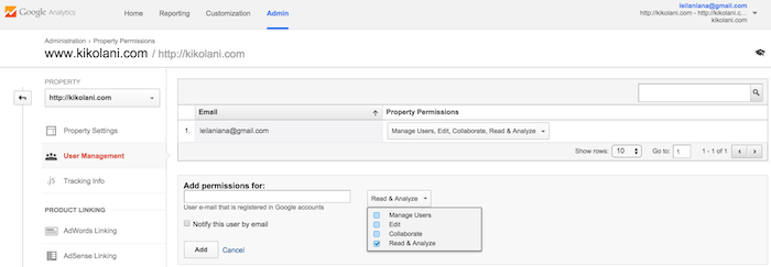 how to add an email permission in google analytics