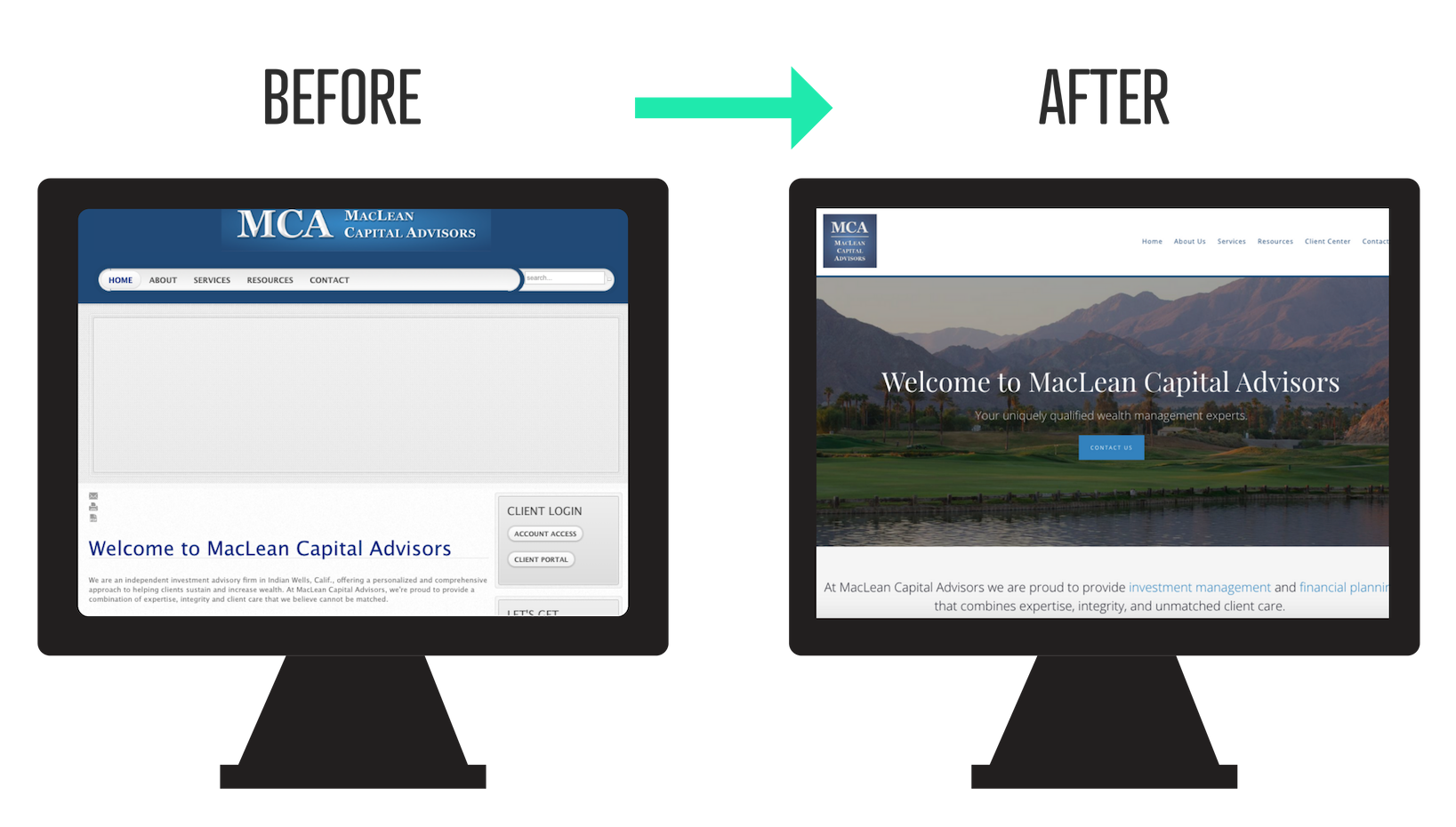 before and after financial advisor website redesign