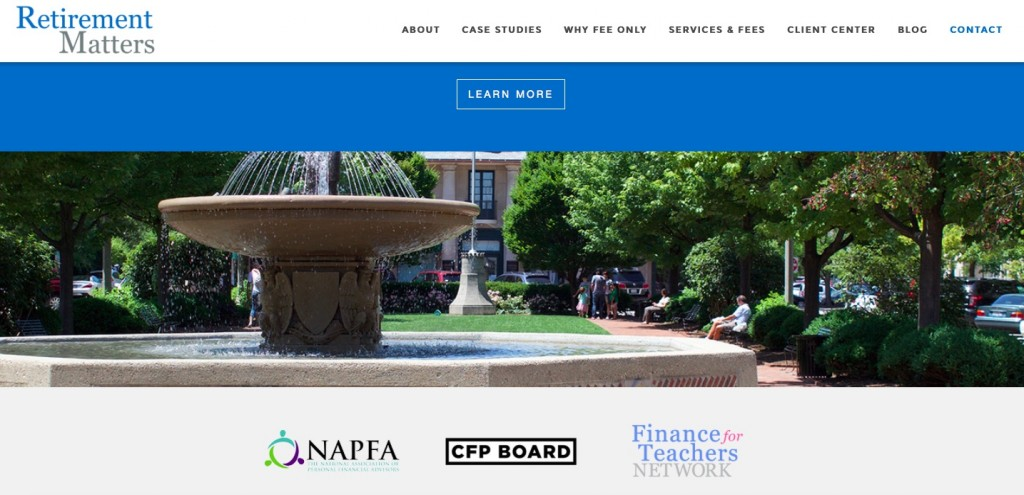 Advisor Websites - Example website from Retirement Matters