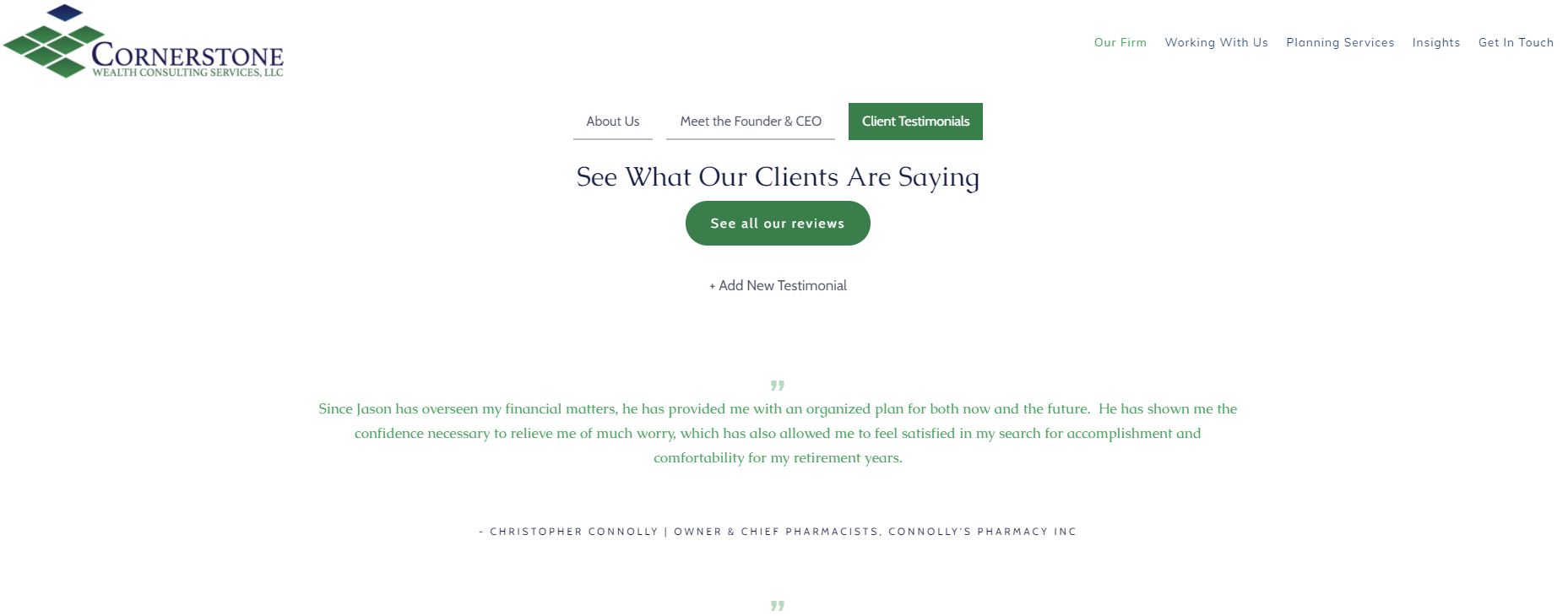 Cornerstone Wealth Consulting Services Testimonial Page