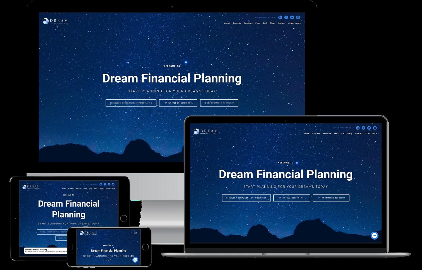Dream Financial Planning best financial advisor websites built by twenty over ten