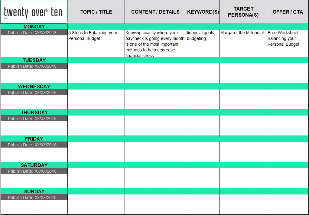 Editorial Calendar for Your Financial Planning Blog