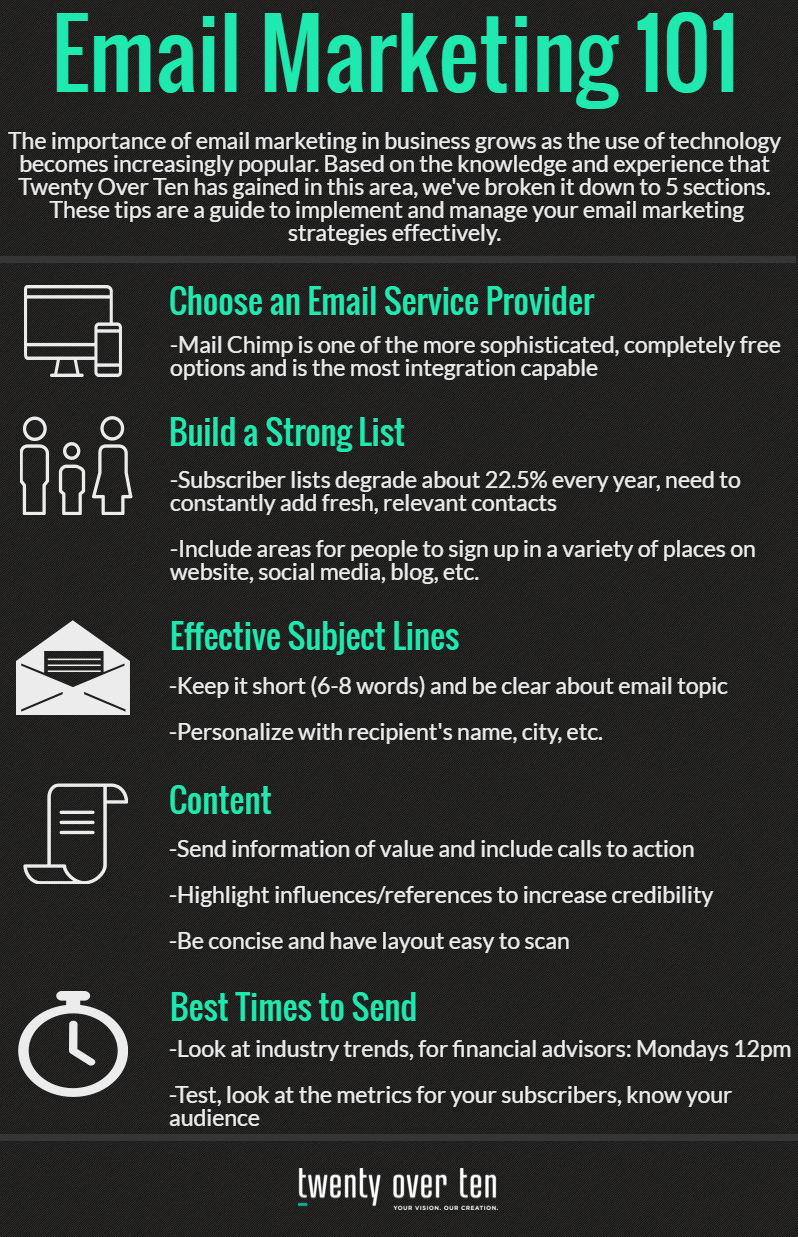 Email marketing tips for financial advisors on building and segmenting subscriber lists.