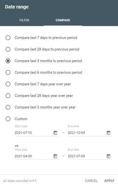GSC Date Range Window