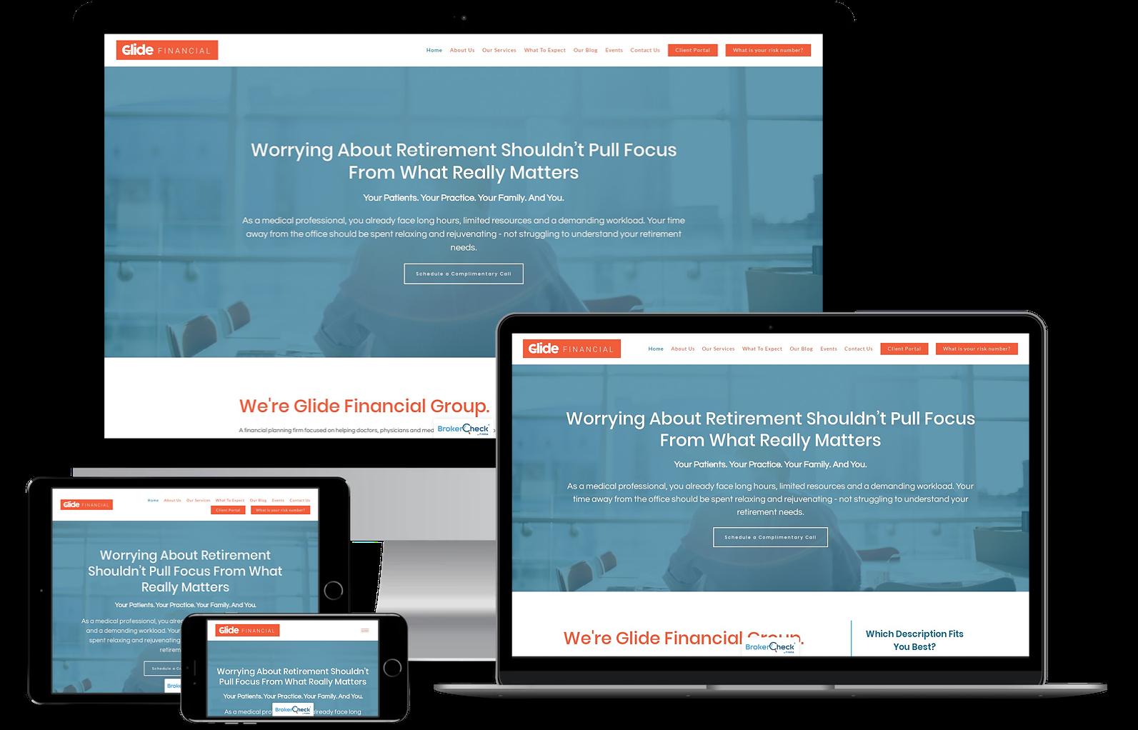Glide Financial best financial advisor websites built by twenty over ten
