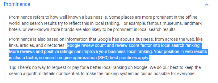 Google Local Search Ranking Article SEO Reviews