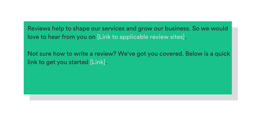 template to ask for a review on your website