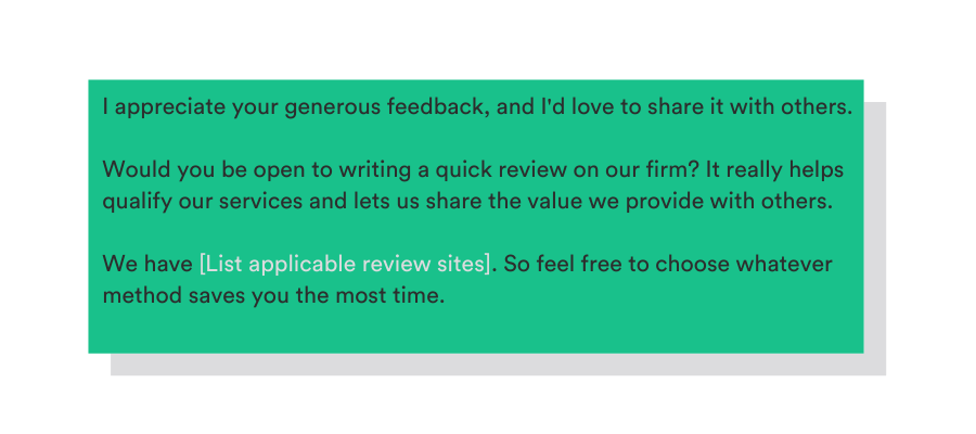 template to ask for a review in person