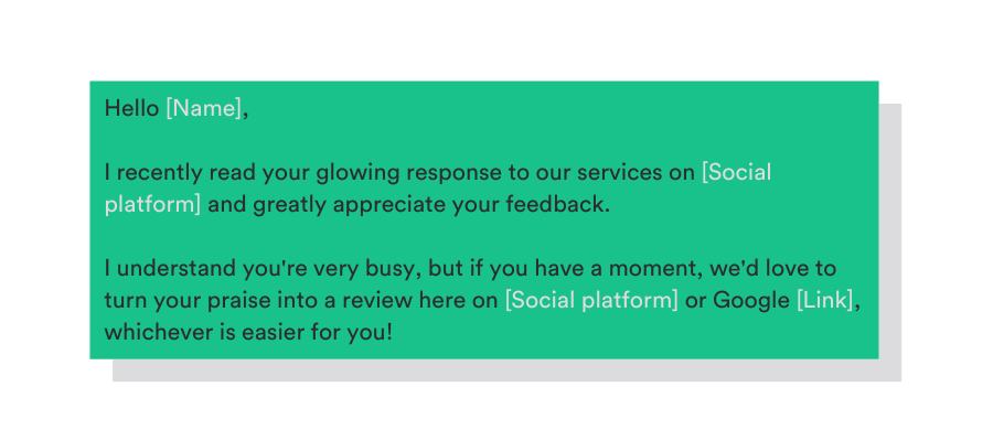 template to ask for a review on social media