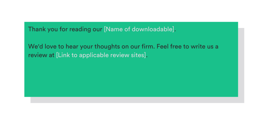template to ask for a review in a downloadable