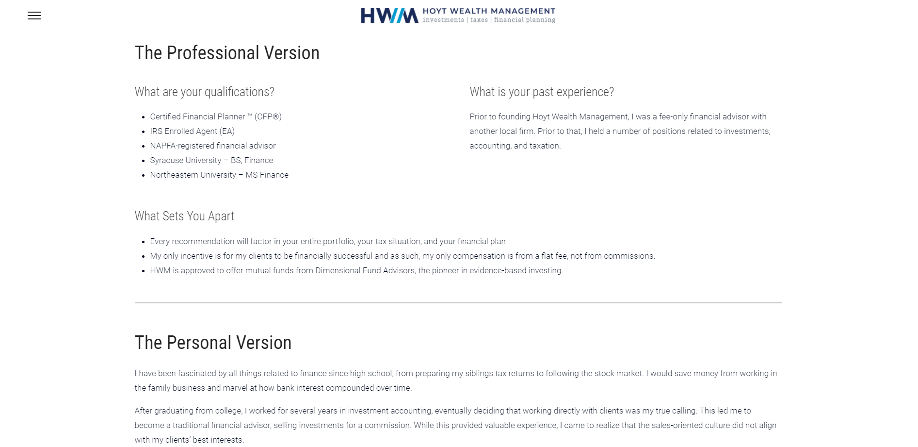 Hoyt Wealth Management Personal Page