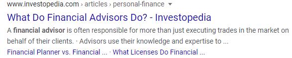 Investopedia Financial Advisor SERP