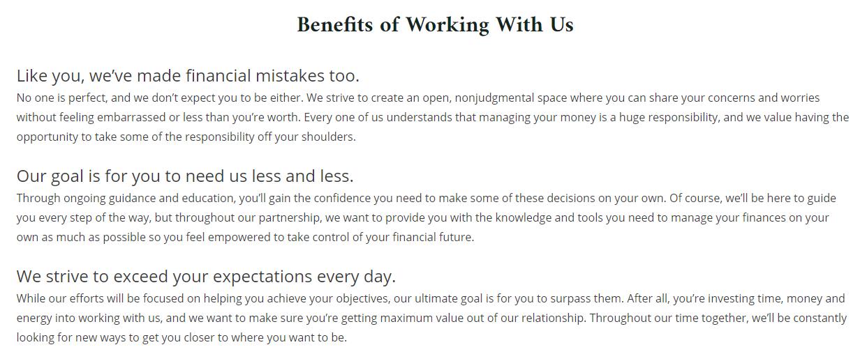 Kilpatrick Financial Group Benefits