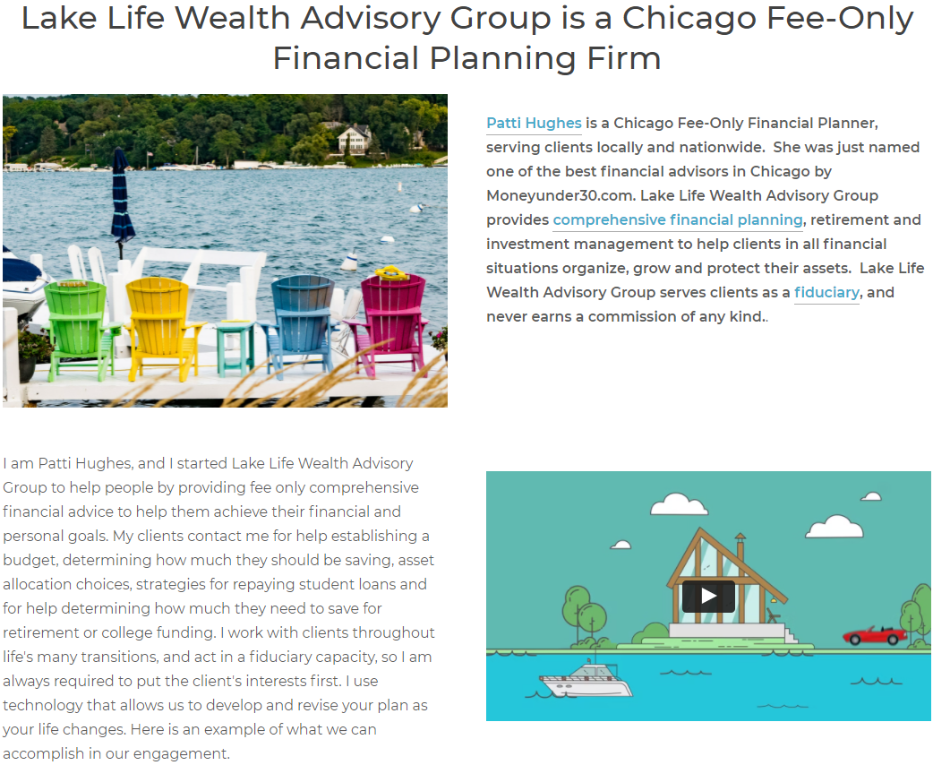 Lake Life Wealth Advisory Group Use of Video
