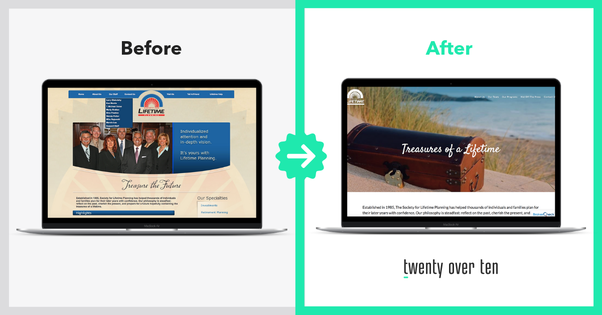 Amazing Before and After Advisor Website Transformations Society for Lifetime Planning