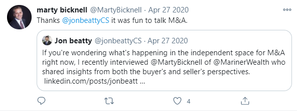 Marty Bicknell Jon Beatty Twitter Example