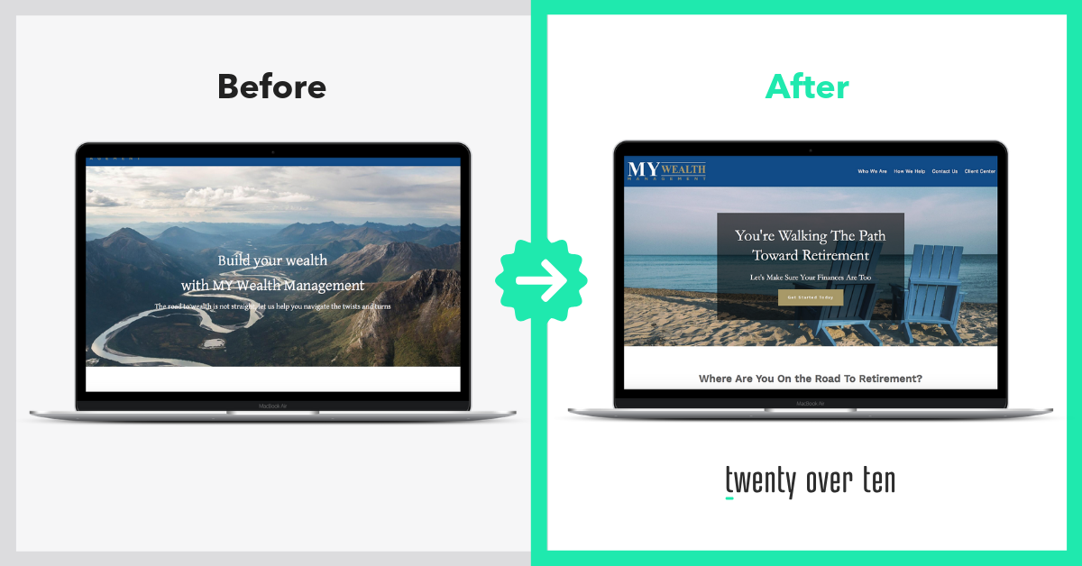 Before and After Advisor Website Transformations my wealth management