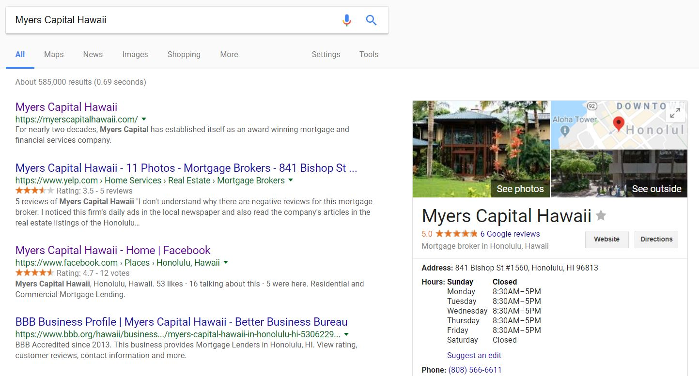 Myers Capital Hawaii Google My Business