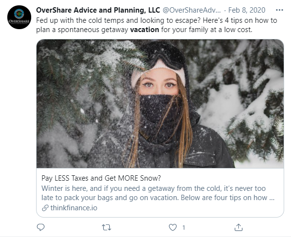 OverShare Advice and Planning Vacation Example