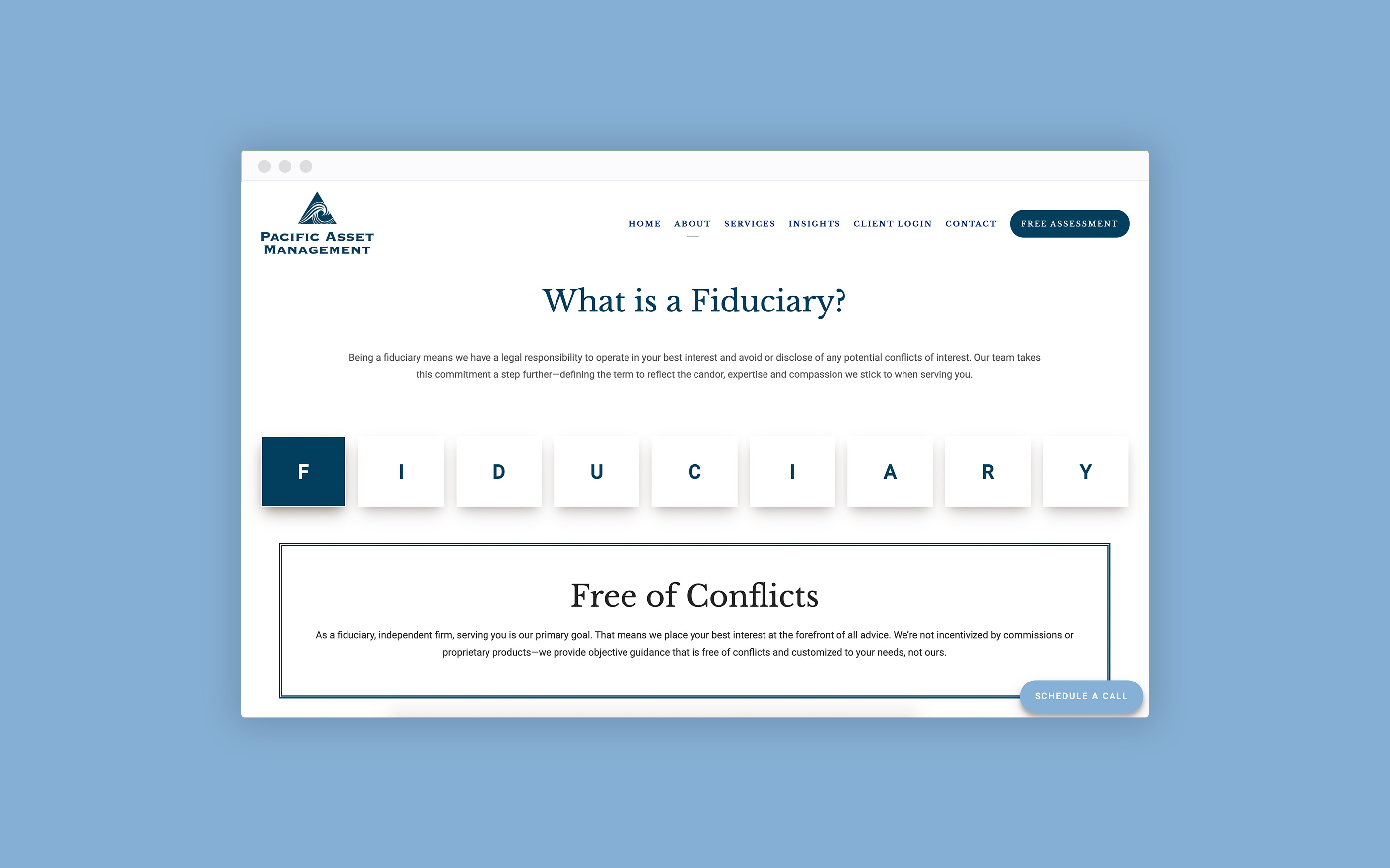Fiduciary page