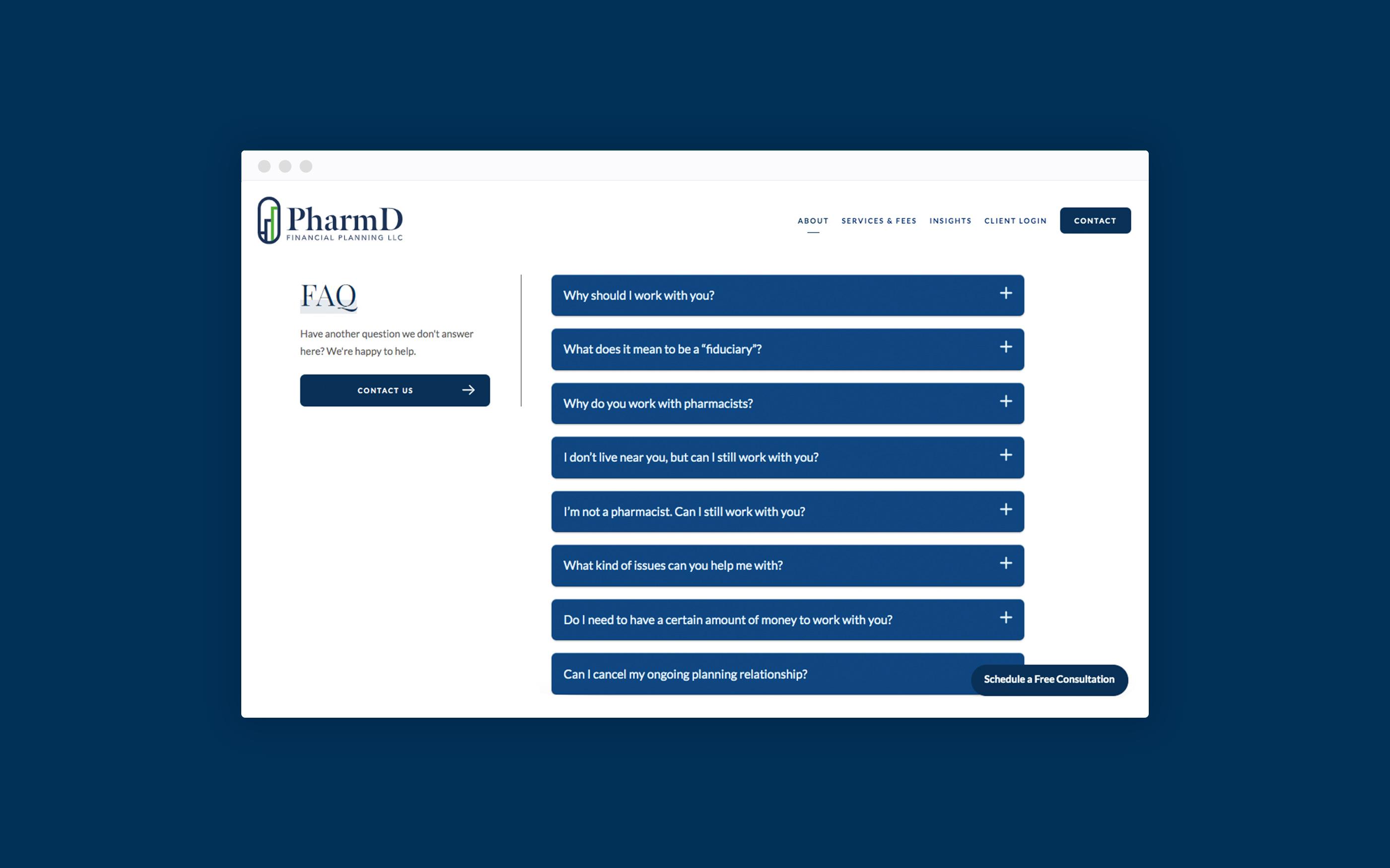 PharmD FAQ page