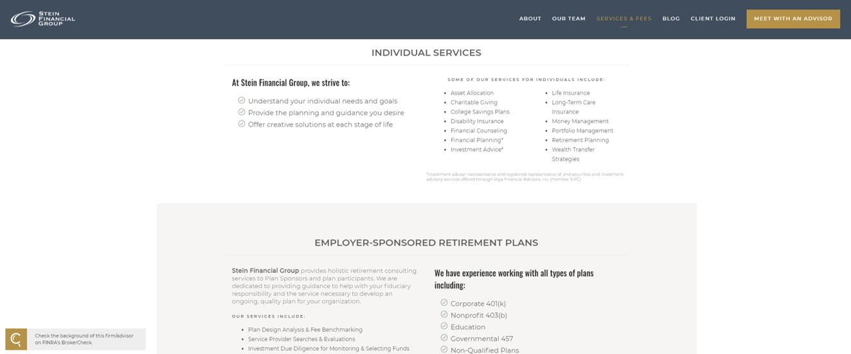 Stein Financial Group website designed by twenty over ten
