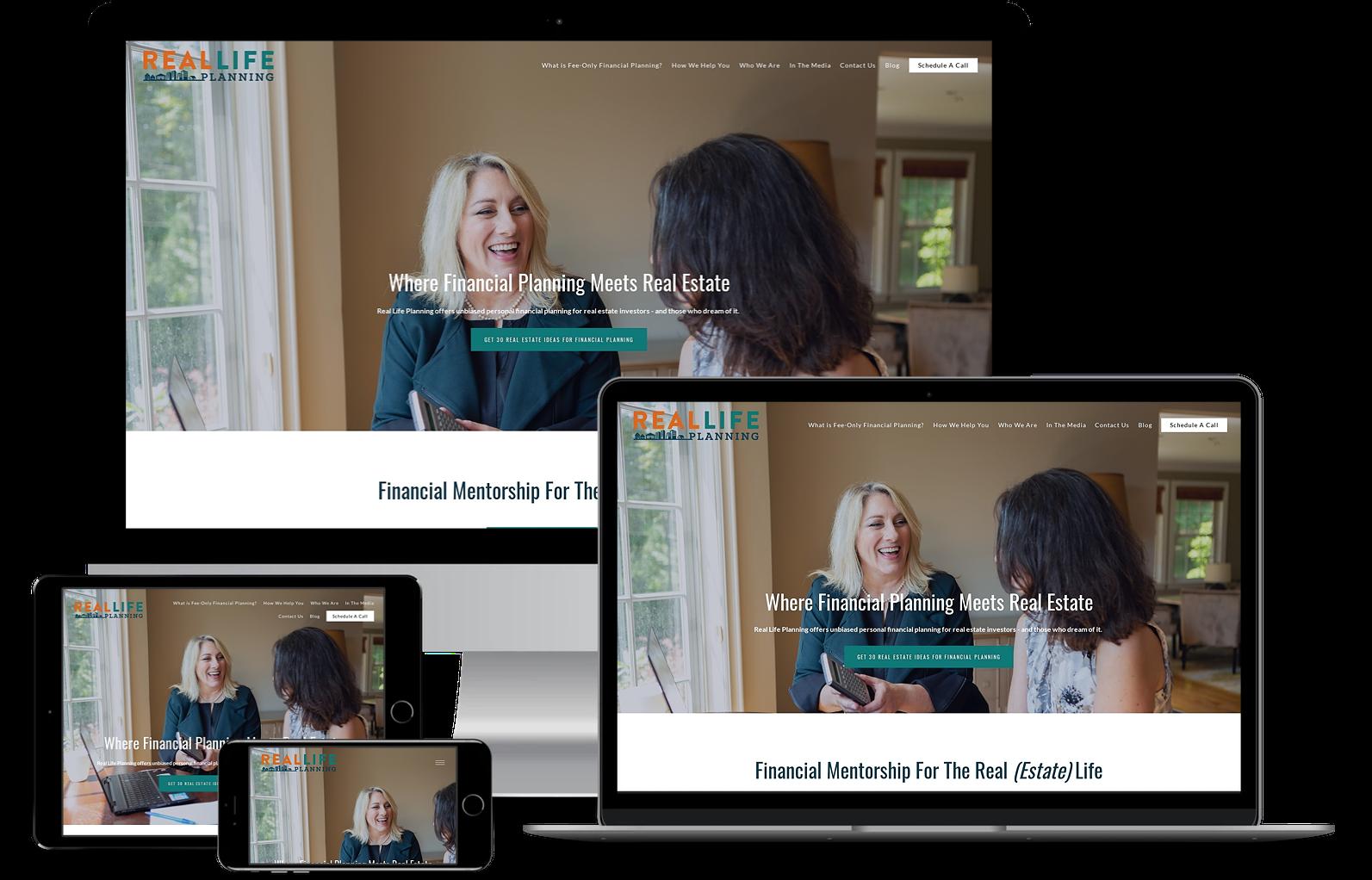 Real Life Planning best financial advisor websites built by twenty over ten