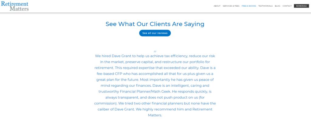 Retirement Matter Testimonial Page