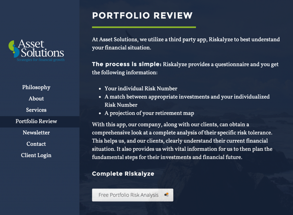 How Financial Advisors Use Riskalyze on their website