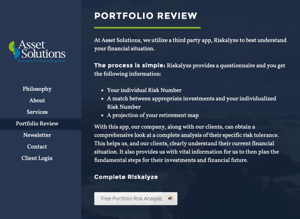 How Financial Advisors Use Riskalyze on their website