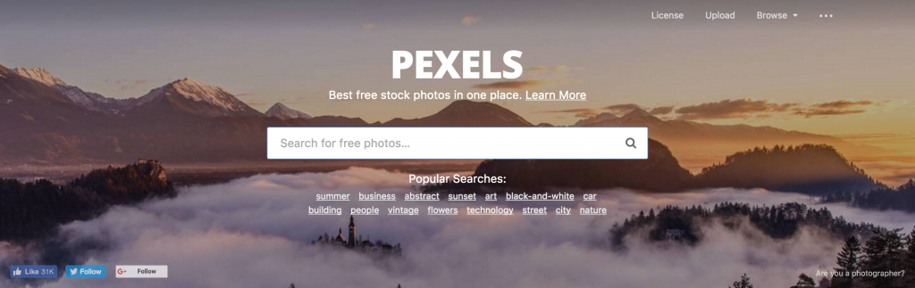 What is an example of a free stock photo site?
