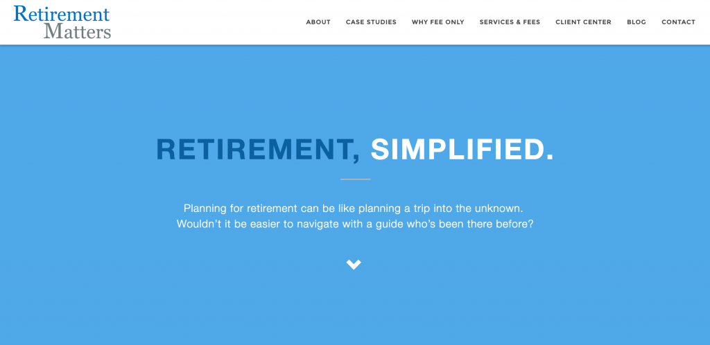 Advisor Websites - Example design, Retirement Matters