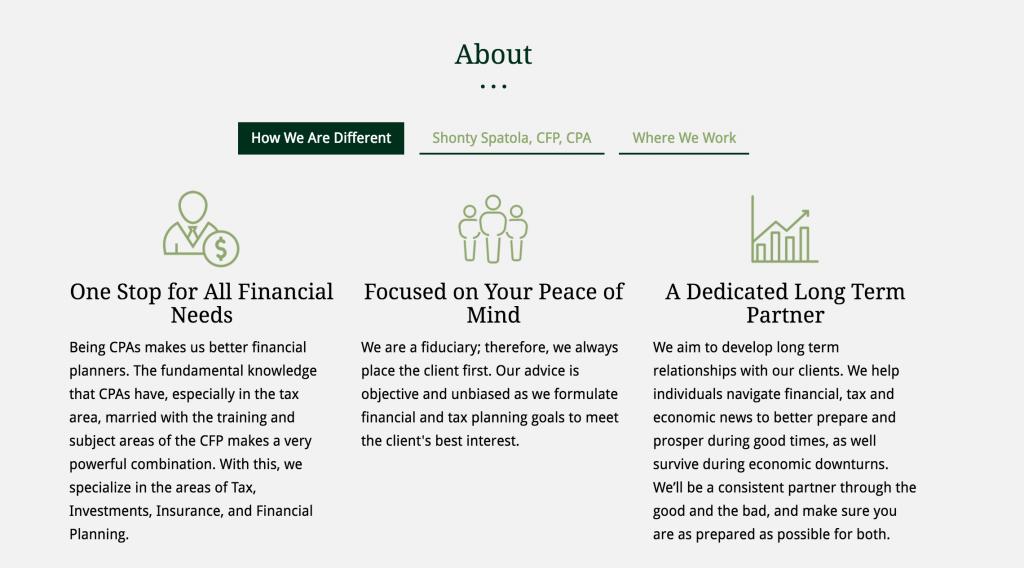 example of financial advisor website