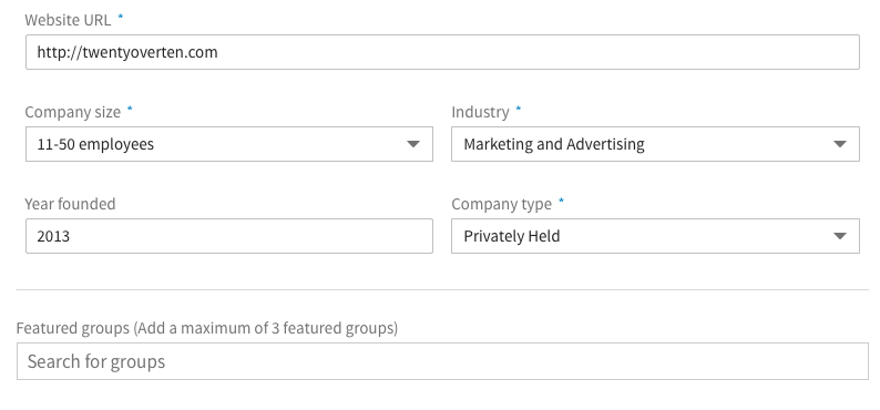 Edit Company Information LinkedIn Post Twenty Over Ten