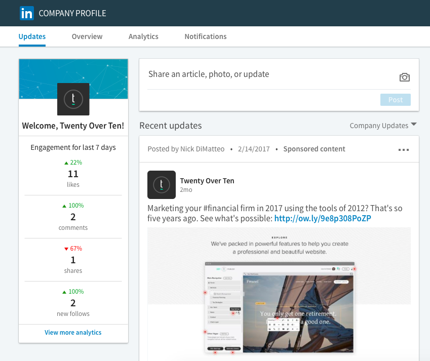 LinkedIn Updates Twenty Over Ten