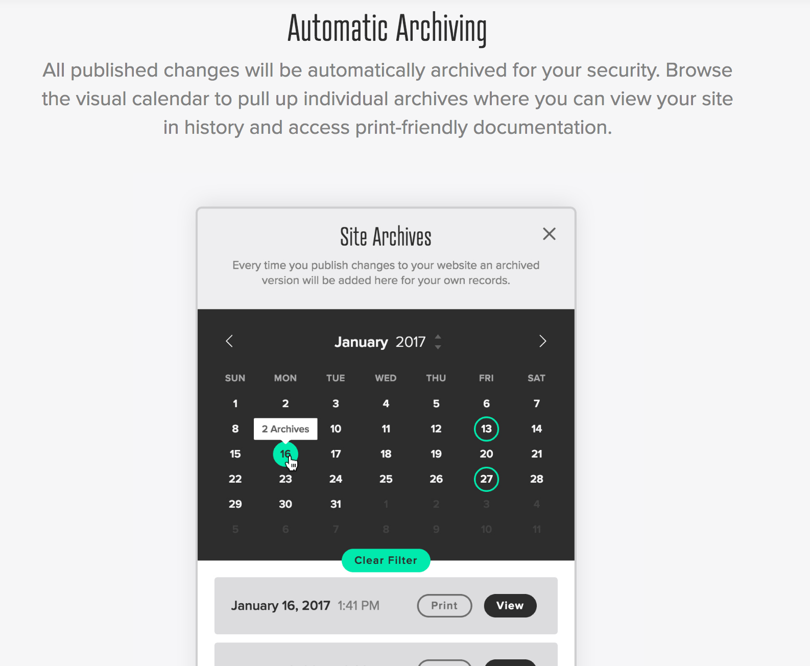 Archiving website for compliance