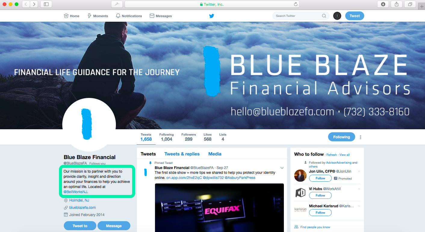 financial advisors on twitter, blue blaze financial advisors