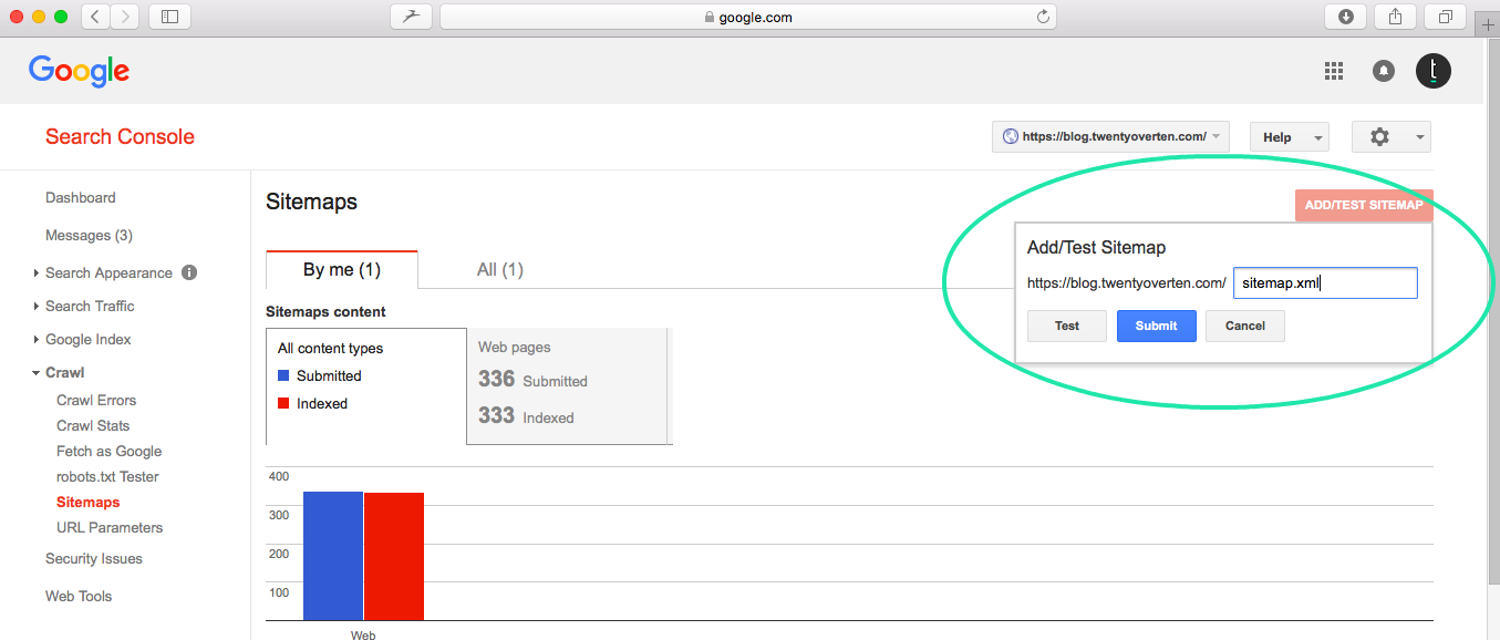 how to add a sitemap to google search console
