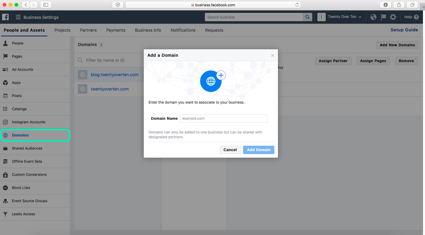 adding a domain on facebook business manager