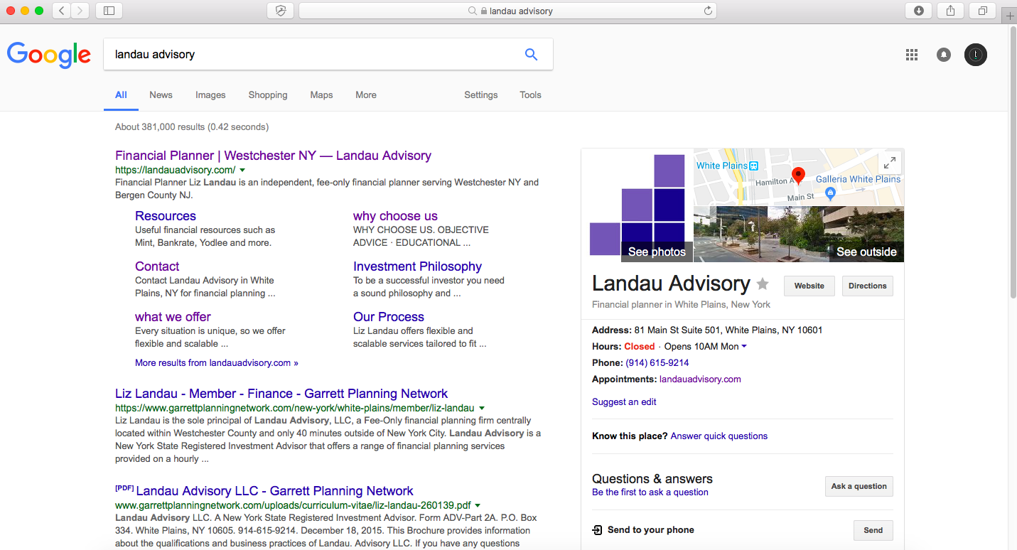 landau advisory google my business page