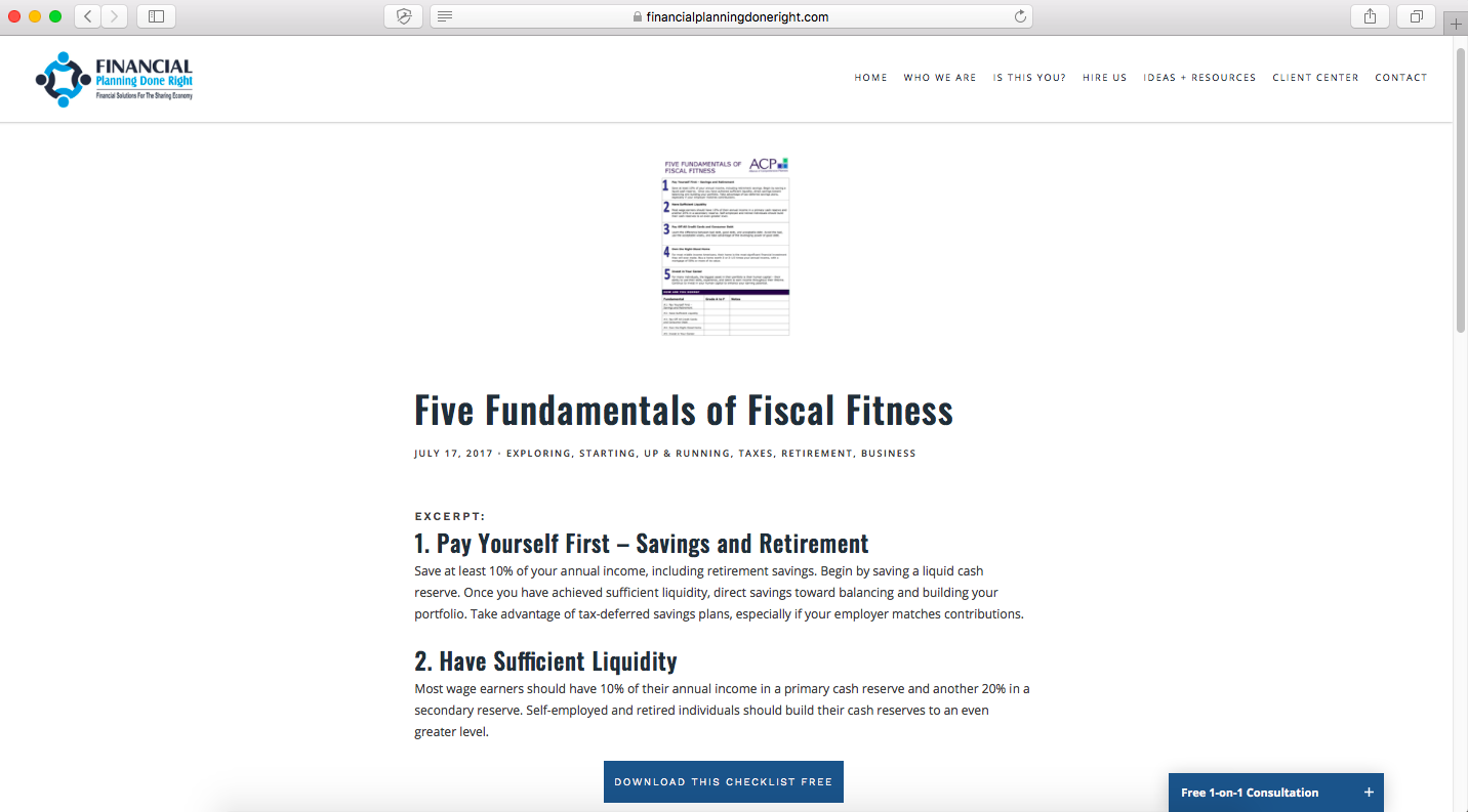 five fundamentals of fiscal fitness