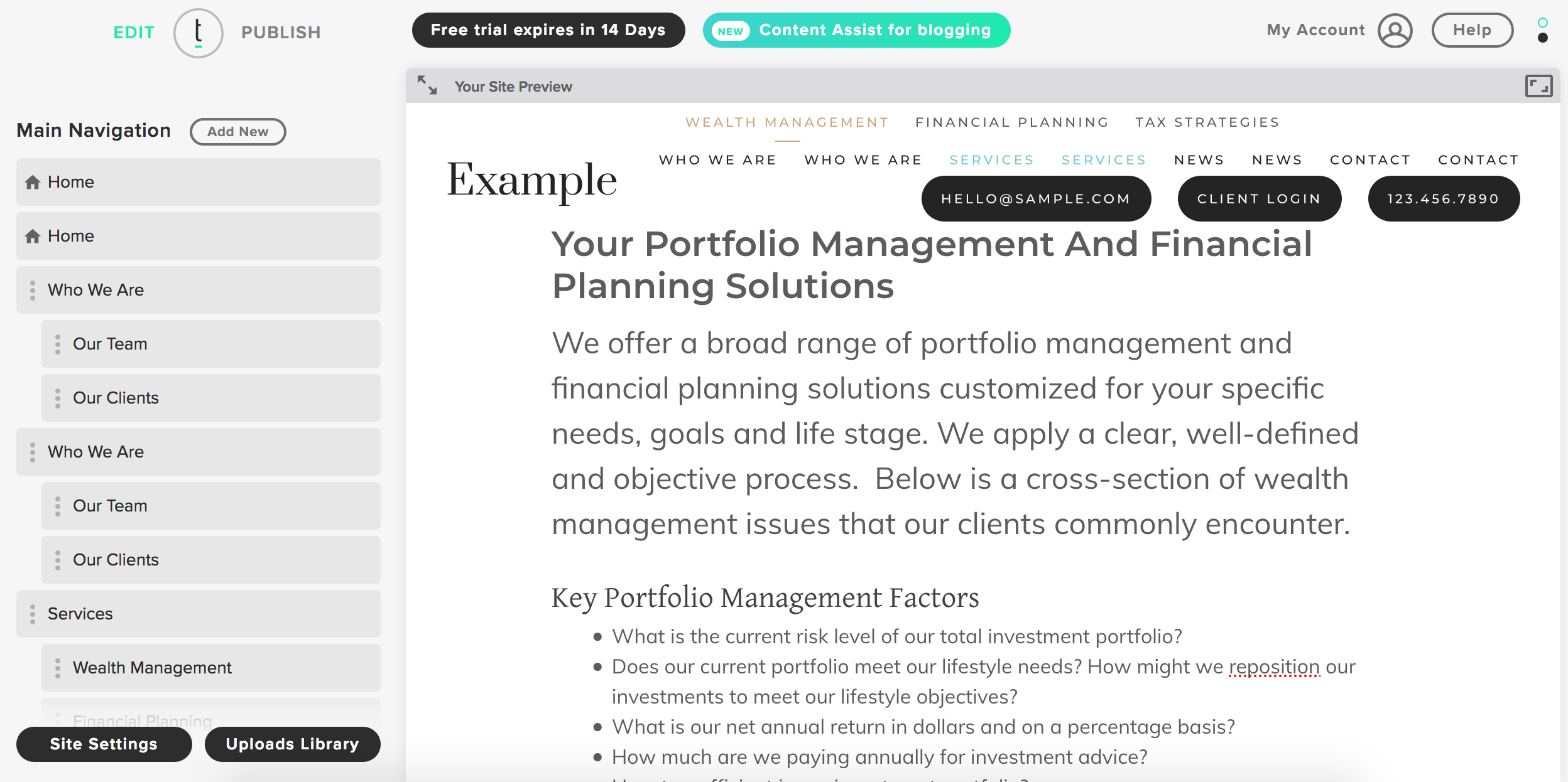 Twenty Over Ten websites for financial advisors