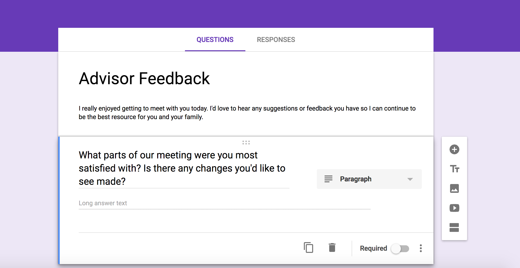 Google Forms surveys for financial advisors