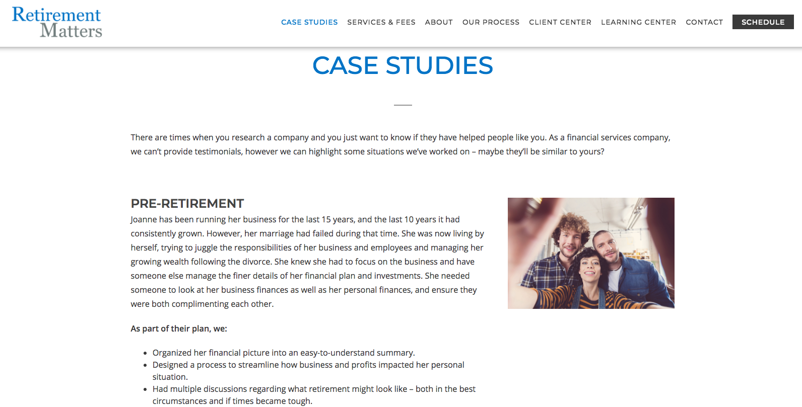 financial advisor case study example