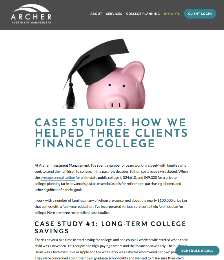 financial advisor case studies, archer investment management