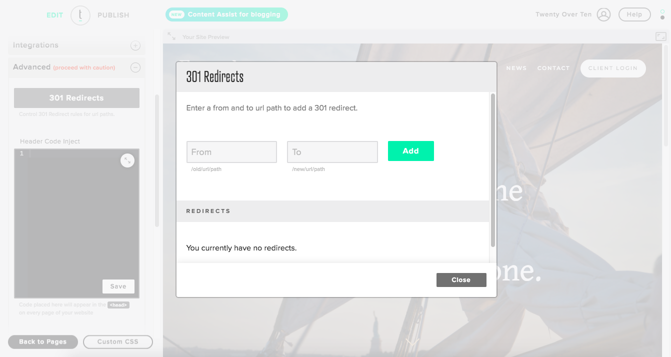 setting up 301 redirects