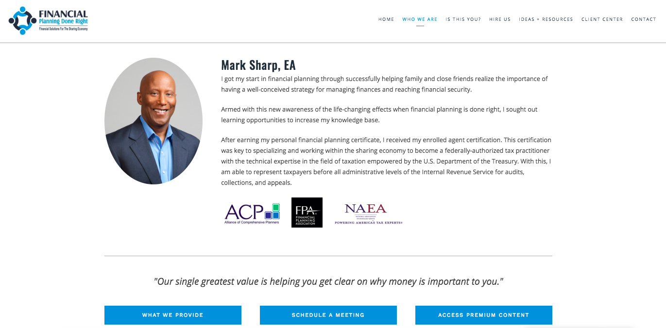 Mark Shar Financial Planning Done Right Example