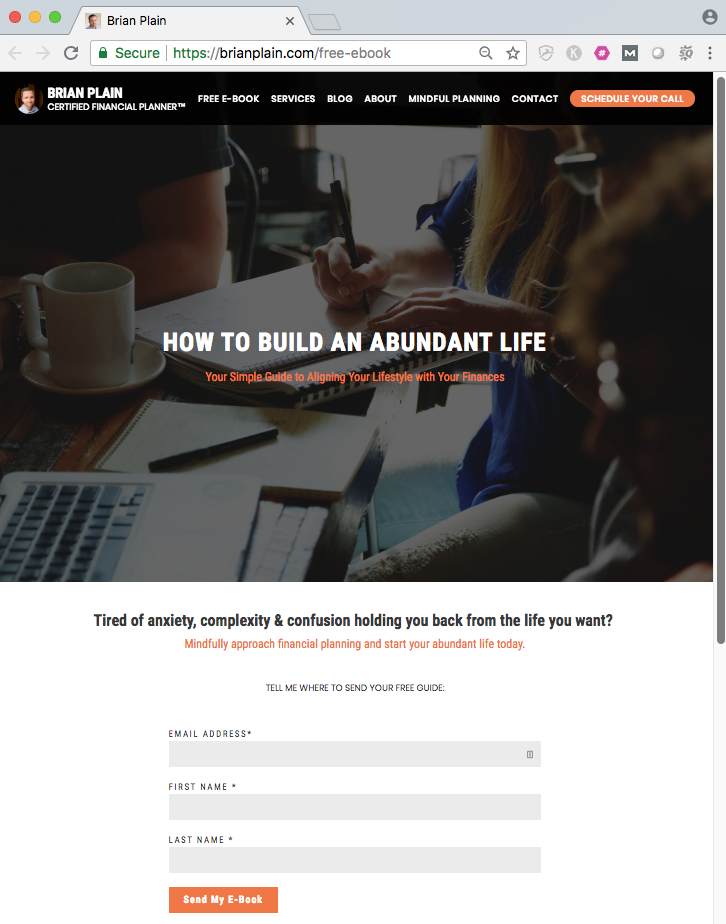 ebook landing page lead generation example